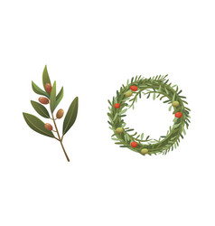 Set olives fruit olive branch and rosemary wreath vector