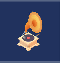 with old gramophone vector image