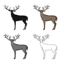 deer with big hornsanimals single icon in cartoon vector image vector image