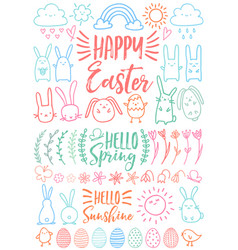 happy easter set of doodles vector image