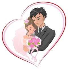 Just married bride and groom Newlyweds in frame vector image