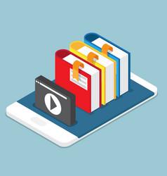 online education lesson tutorial concept books vector image