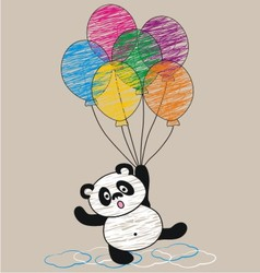 Panda and balloon vector image vector image
