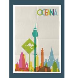 Travel Oceania landmarks skyline vintage poster vector image