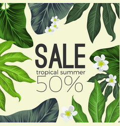 tropical summer sale banner with flowers and vector image vector image