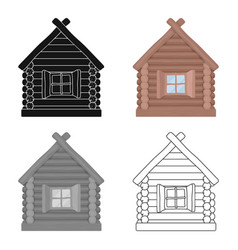 wooden house icon in cartoon style isolated on vector image vector image