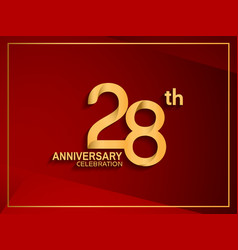 28 anniversary celebration logotype golden color vector