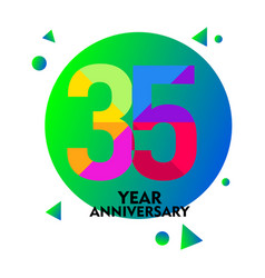 35 year anniversary template design vector