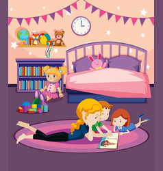 a mother reading book to children vector image