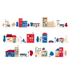 a set of small houses in a toy flat style vector image