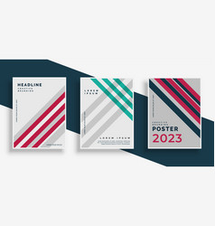 Abstract stripes cover page design set vector