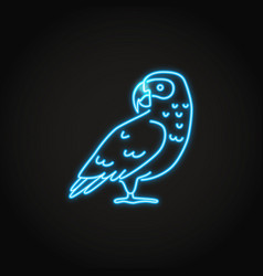 african grey parrot icon in glowing neon style vector image