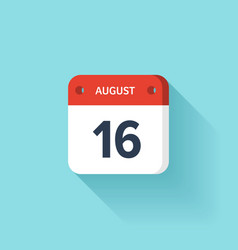 August 16 Isometric Calendar Icon With Shadow vector