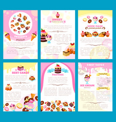 Bakery sweet desserts brochure or posters vector