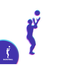 basketball player with ball sport symbol design vector image