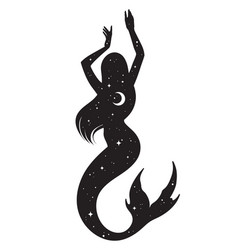 beautiful mermaid silhouette with crescent moon vector image