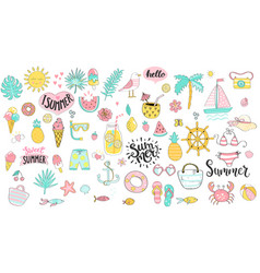 big summer set hand drawn elements for season vector image