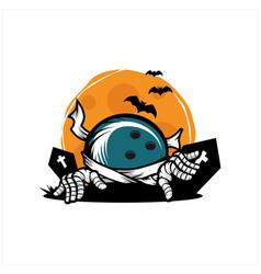 Bowling halloween theme logo vector