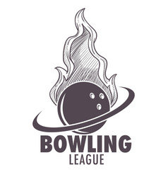 bowling league poster with ball and skittle vector image