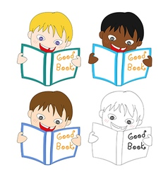 Boy Read Good Book vector image
