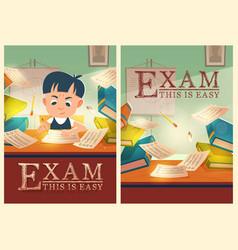 boy solve test pass exam in school cartoon posters vector image