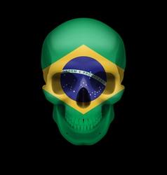 Brazilian flag skull vector