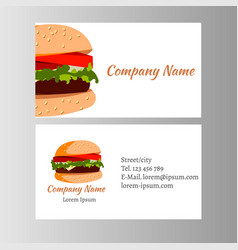 Burger business card template for shop vector