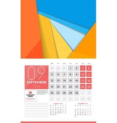 Calendar for 2016 Year September Design Clean vector