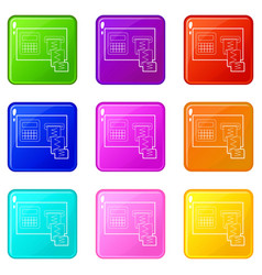 Cardiograph icons set 9 color collection vector