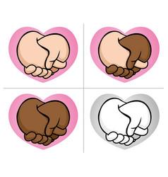 Caricature hugging boyfriends hand multiracial vector