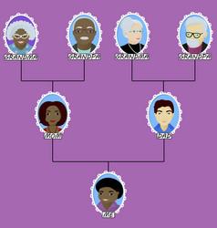 Cartoon family tree of the boy born in interracial vector