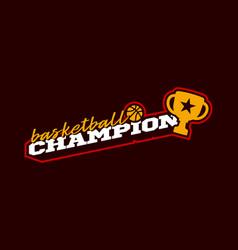 champion basketball logo modern professional vector image