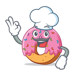 Chef donut character cartoon style vector