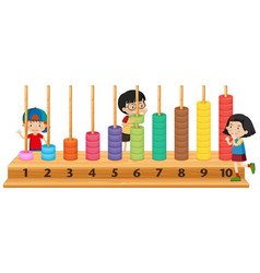 children playing with abacus vector image