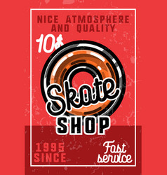 Color vintage skate shop banner vector