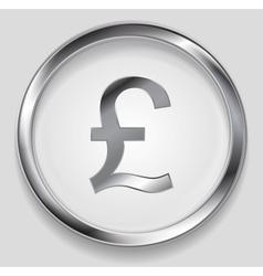 Concept metallic pound symbol logo button vector image
