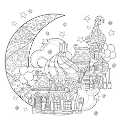 cute christmas fairy tale town doodle vector image vector image