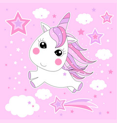 cute little magical unicorn hand drawing for vector image