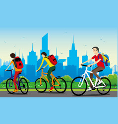 Cyclists with backpacks vector