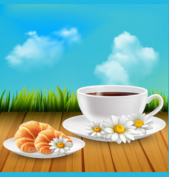 daisy realistic breakfast composition vector image