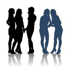 detailed silhouettes girlfriends vector image