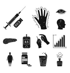 Diabetes black icons in set collection for design vector