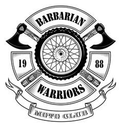 emblem motorcycle club motorcycle wheel vector image