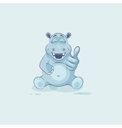 Emoji character cartoon Hippopotamus approves with vector