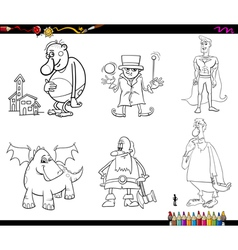 fantasy set coloring page vector image