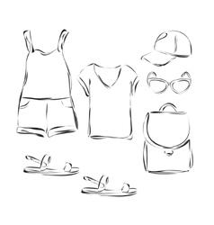 Fashion wardrobe objects set vector