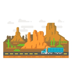 Flat design lonely road arizona vector