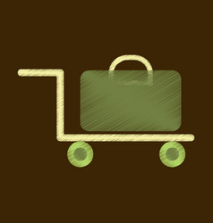 flat icon in shading style suitcase on trolley vector image