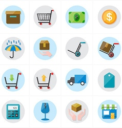 Flat Icons For Business Icons and Ecommerce Icons vector image vector image
