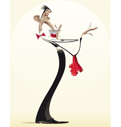 Funny waiter with red wine vector